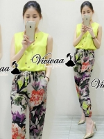 Yellowy cami vio lette pants