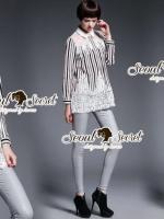 Chic Stripy Lace Shirt Dress