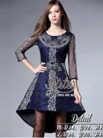 Blue Luxury Vintage Dress style Lady Elly