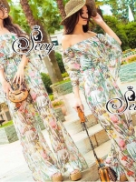 Tropical Off Shoulder Blouse With Wide Pants Sets