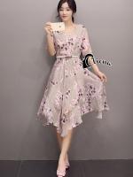 Peach Blossom Flowers Line Dress