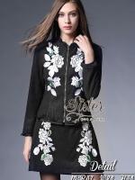 Black Elegant Beauty Jacket with White Rose Pattern