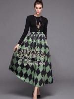 Western Style Set with Green Dark Pattern
