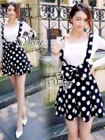 Sevy Polka Dot Ribbon Waist Mini Skirt Bib