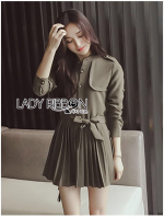 Lady Eva Military Inspired Pleated Shirt Dress
