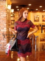 Wave flower lace Dress Color