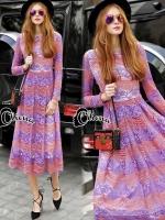 Pinky Purple Lace Luxury Long Dress