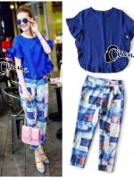Blue Magic Print Shirt + Pant Set