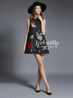 Winter classic embroidery woolen Dress