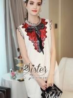 White Mini Red Stylish Korea Dress