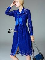Luxury Flash Lace Long Sleeves Dress