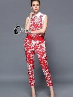Luxury Red Floral Leaves Top + Pant Set