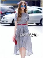 Lady Sara Minimal Asymmetric Grey Dress with Red Belt