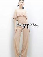 Shoulder Chiffon Jumpsuit in Pale Pink
