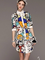 Vivid Cartoon print dress shirt