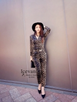 Juicy Leopard long sleeve jumpsuit