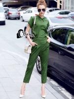 Eva Military Green Shirt + Pant Set