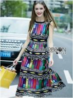 Alice Vivid Colorful Graphic Printed Maxi Dress
