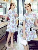 Sunny Sweat Flowers Printing Shirt Dress