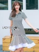Lady Ribbon's Made &#x1F380 Lady Minimal Chic Striped Collared Peplum Dress เชิ้ตเดรสลายทางตกแต่งชายระบายสไตล์มินิมัลชิค ลุคนี้เป็นแบบเรียบง่าย แต่มีรายละเอียดเก๋ๆที่ชายกระโปรง ตกแต่งระบายแบบเพบลัม ใส่แล้วพลิ้วมากค่ะ ส่วนช่วงบนเป็นเชิ้ตติดกระดุมครึ่บ