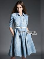 Grace Floral Embroidered Denim Shirt Dress with Belt