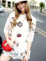 I Love Plein Luxury Lace Mini Dress Shirt