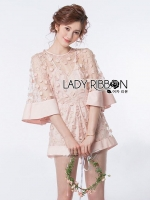 Flower Embroidered Flared-Sleeve Playsuit