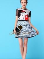 Snow White & Red Apple Sky Blue Dotty Print Dress