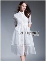 Lady Anna Graphic Embroidered Organza Shirt Dress with Belt เดรสเชิ้ตผ้าออร์แกนซ่าปักลายกราฟิกพร้อมเข็มขัด ลุคนี้ใส่แล้วเป็นสาวทำงานแสนเก๋ เป็นแนวหวานก็ได้ มินิมัลก็ดี ทั้งตัวเป็นผ้าออร์แกนซ่าโปร่งปักลายกราฟฟิกสีขาว แขนสามส่วน มาพร้อมเข็มขัดในตัว ชายกระโป