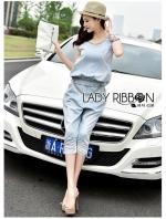 Lady Blaire Sporty Chic Embellished Zipper Denim Jumpsuit