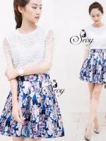 English Style Printed Pleat Mini Skirt