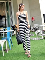Black&White strip strapless jumpsuit