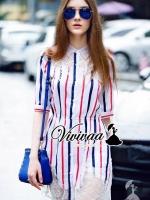 NavyRed stripy lace dress shirt