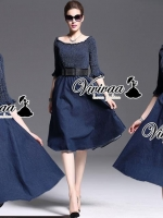 Smocking denim chic dress