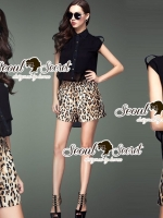 Leopard Girl Kaki@Black Chic Shorts Play Suit