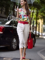 Zoe Beauty In The Rain Colorfull Top + White Pant Set