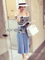 Lady Summery Off-Shoulder Striped
