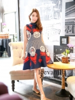 Luxury eye retro print Dress