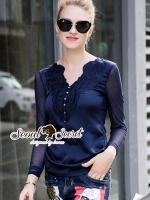 Saphire Blue Lace Blouse
