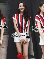 Chic navy-red stipy set