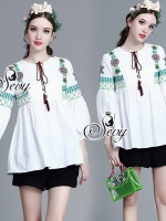 Bohemian Embroidered Rope V-Collar Blouse