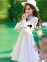 Lady Lace Pleat Ivory Dress