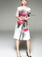 Water Print Flowers Dress