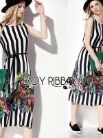 Lady Amanda Tropical Printed Striped Sleeveless Midi Dress