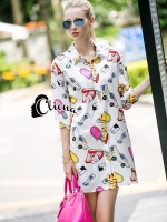 Life Print Over Size Shirt Dress