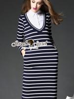 Nifty Stripe Shirt Colar Dress