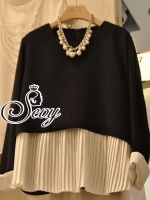Cool Round-Neck Pleat Trim Long Sleeve Blouse