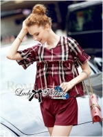 Lady Burgundy Top and High-Waist Short Set