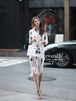 Acrylic pleated printing shirt&Dress
