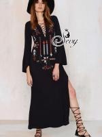 Embroidered Bohemian Nepal Maxi Dress